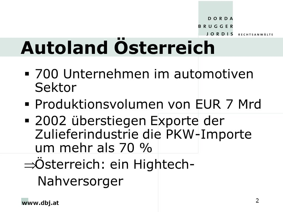 Autoland Österreich 700 Unternehmen im automotiven Sektor