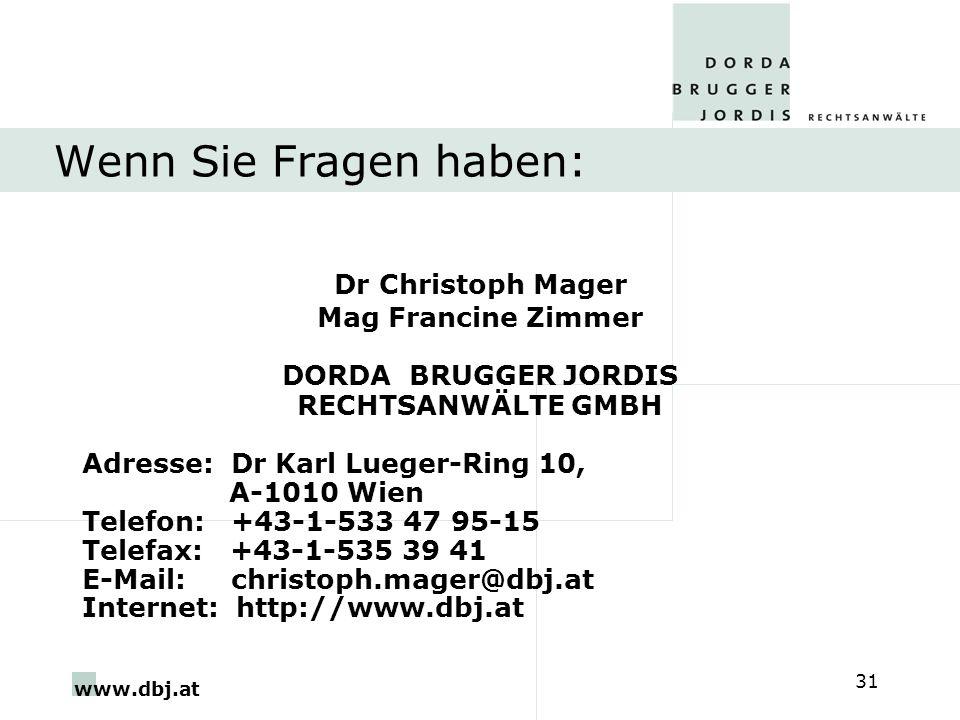 Wenn Sie Fragen haben: Dr Christoph Mager Mag Francine Zimmer