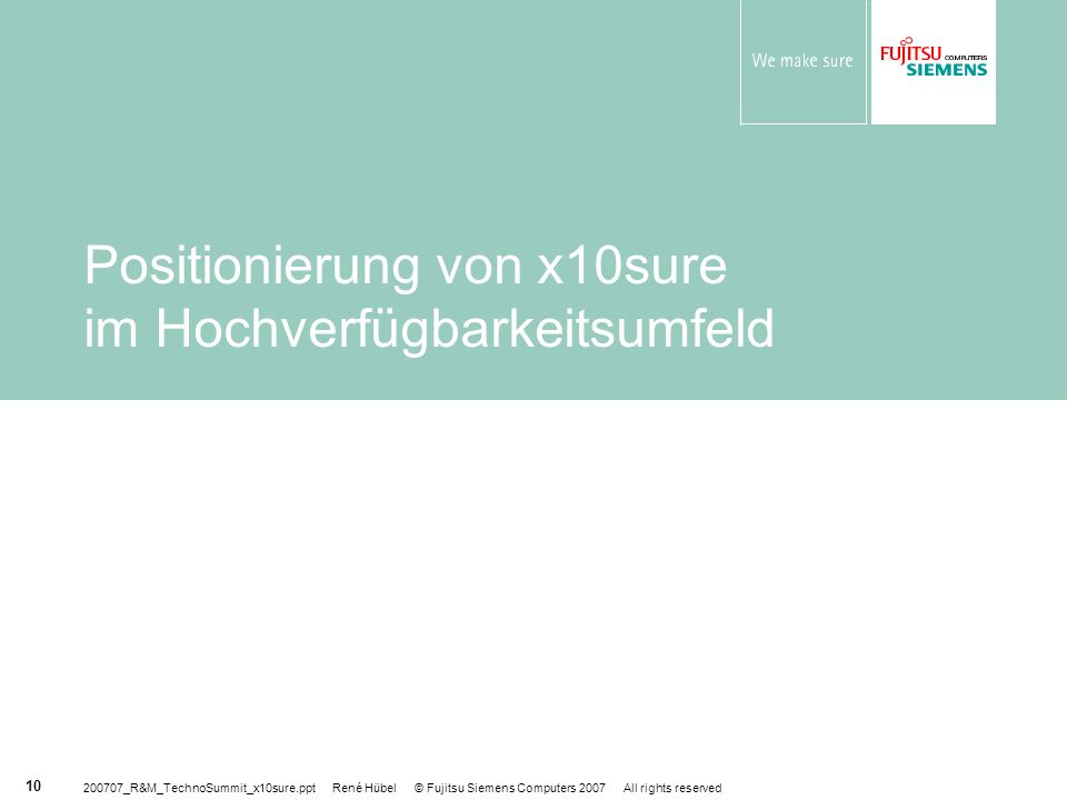 Positionierung von x10sure im Hochverfügbarkeitsumfeld
