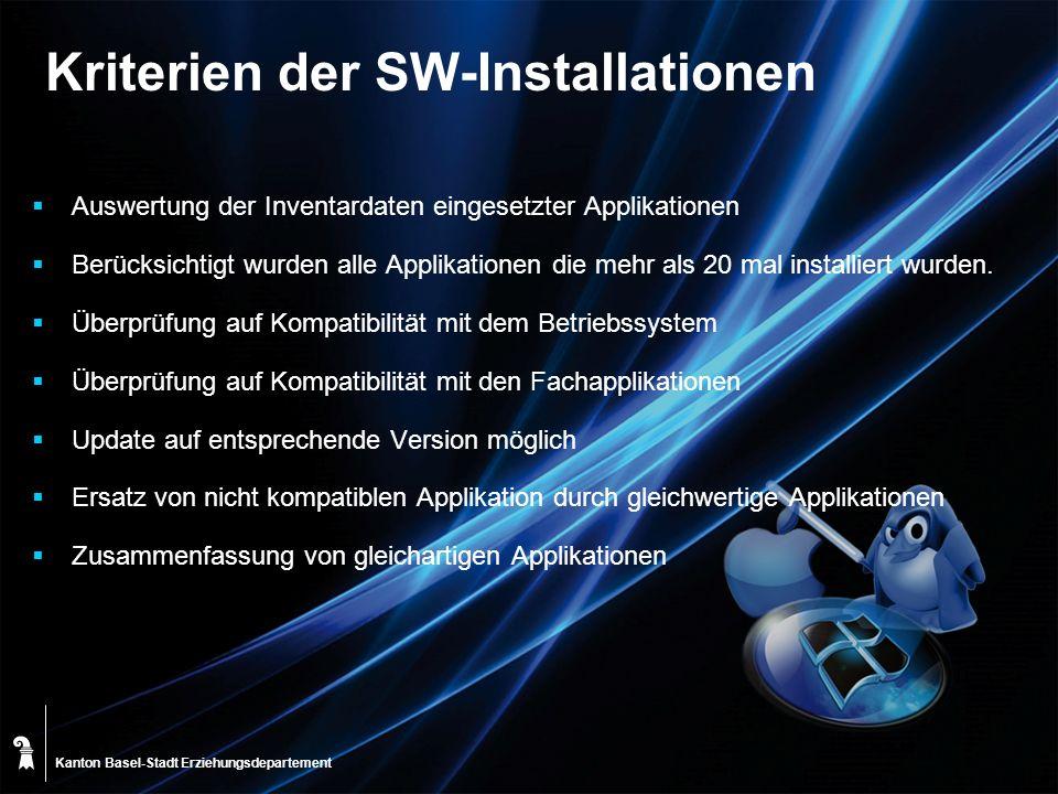Kriterien der SW-Installationen