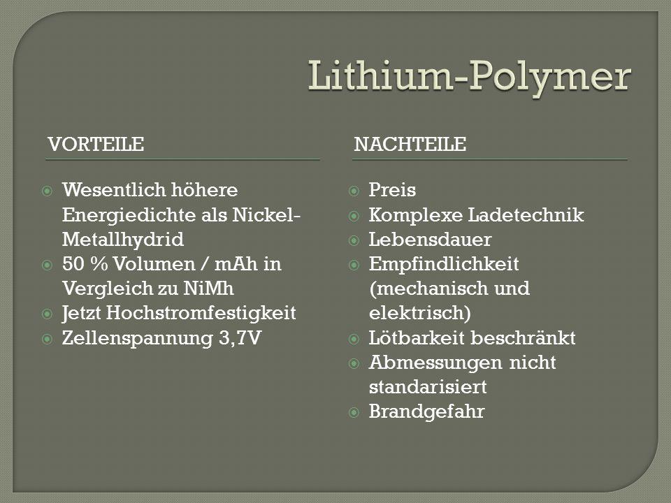Lithium-Polymer Vorteile Nachteile