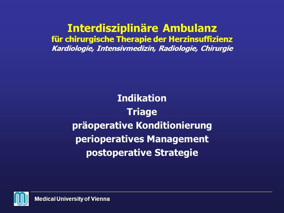 Interdisziplinäre Ambulanz für chirurgische Therapie der Herzinsuffizienz Kardiologie, Intensivmedizin, Radiologie, Chirurgie