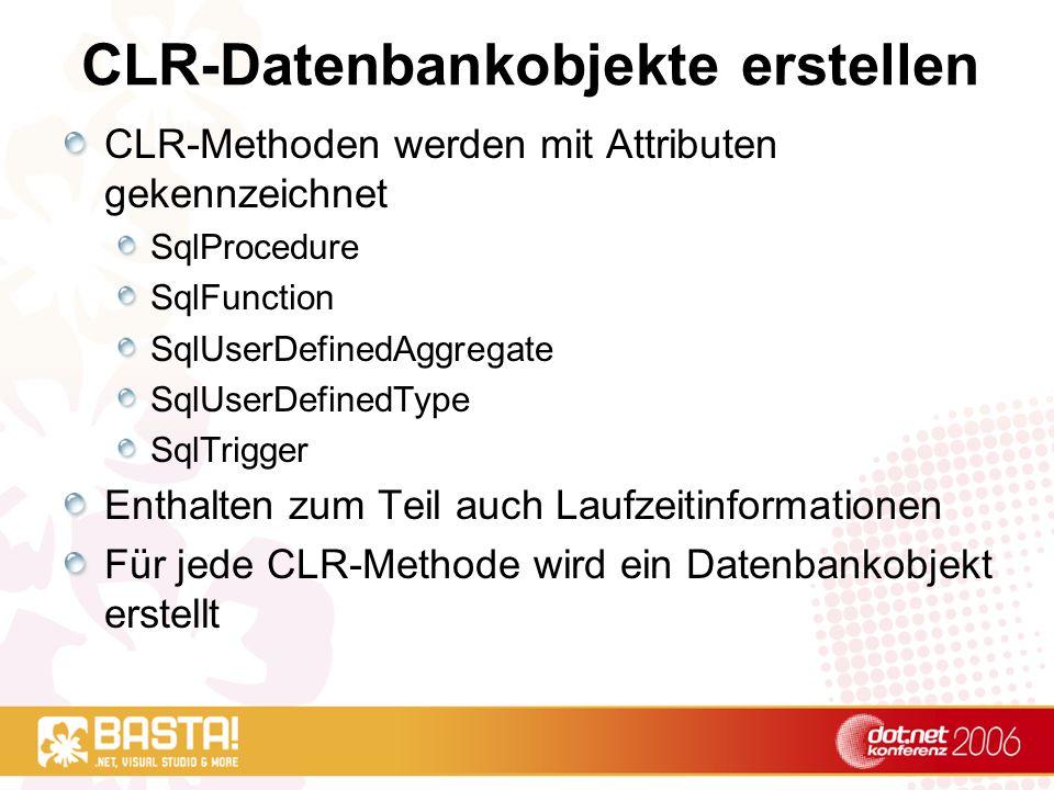 CLR-Datenbankobjekte erstellen