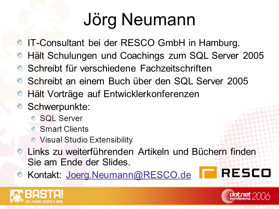 Jörg Neumann IT-Consultant bei der RESCO GmbH in Hamburg.