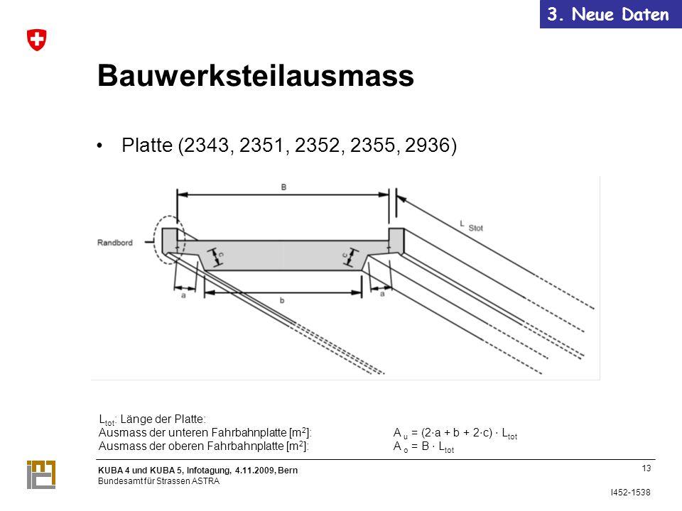 Bauwerksteilausmass Platte (2343, 2351, 2352, 2355, 2936)