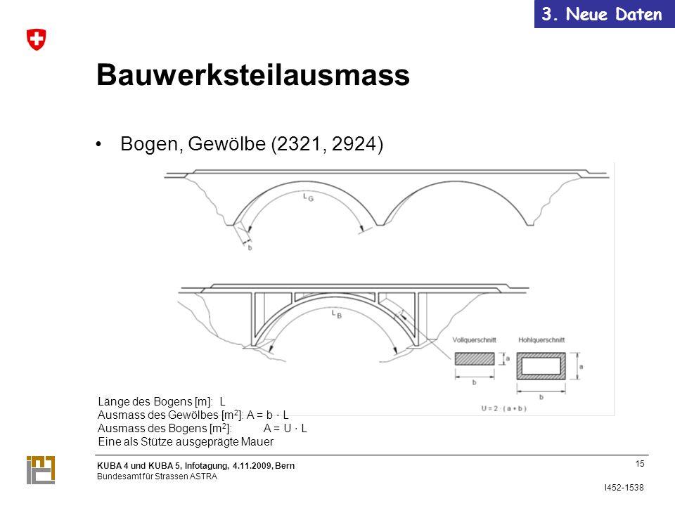 Bauwerksteilausmass Bogen, Gewölbe (2321, 2924) 3. Neue Daten 15