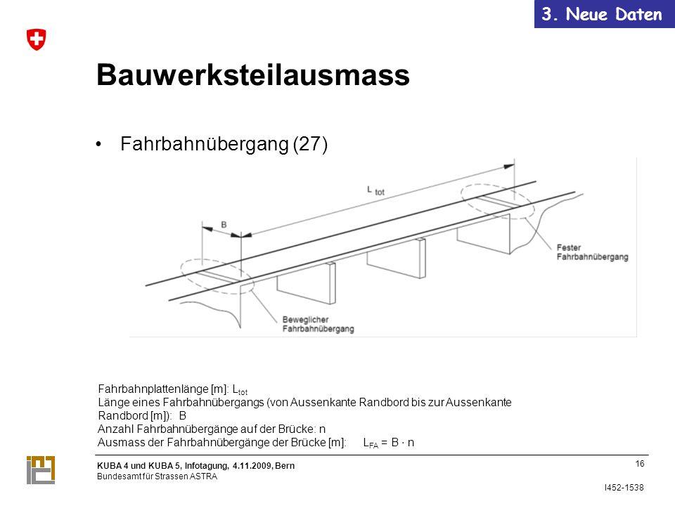 Bauwerksteilausmass Fahrbahnübergang (27) 3. Neue Daten 16