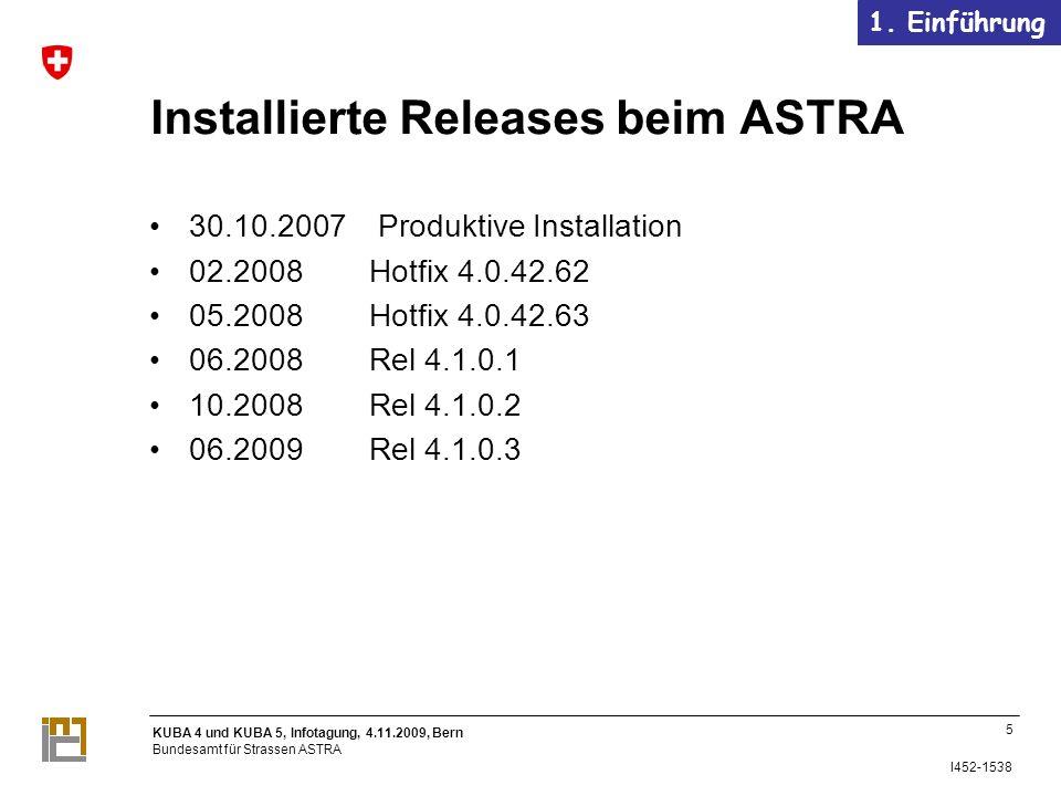 Installierte Releases beim ASTRA