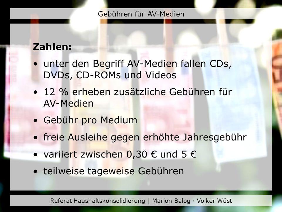 unter den Begriff AV-Medien fallen CDs, DVDs, CD-ROMs und Videos
