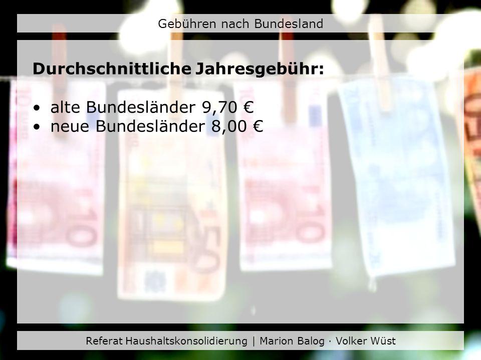 Durchschnittliche Jahresgebühr: alte Bundesländer 9,70 €
