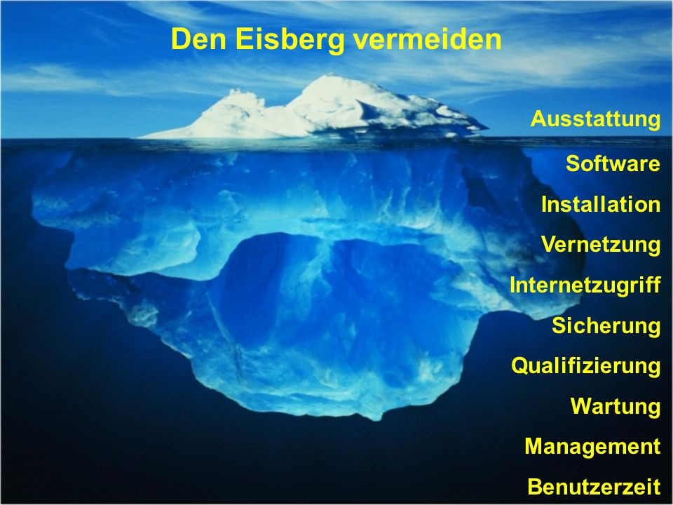 Den Eisberg vermeiden Ausstattung Software Installation Vernetzung