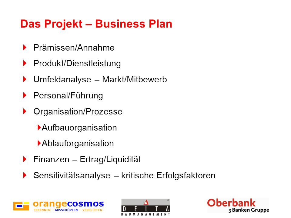 Das Projekt – Business Plan