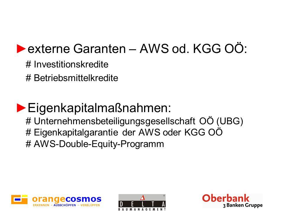 externe Garanten – AWS od. KGG OÖ:
