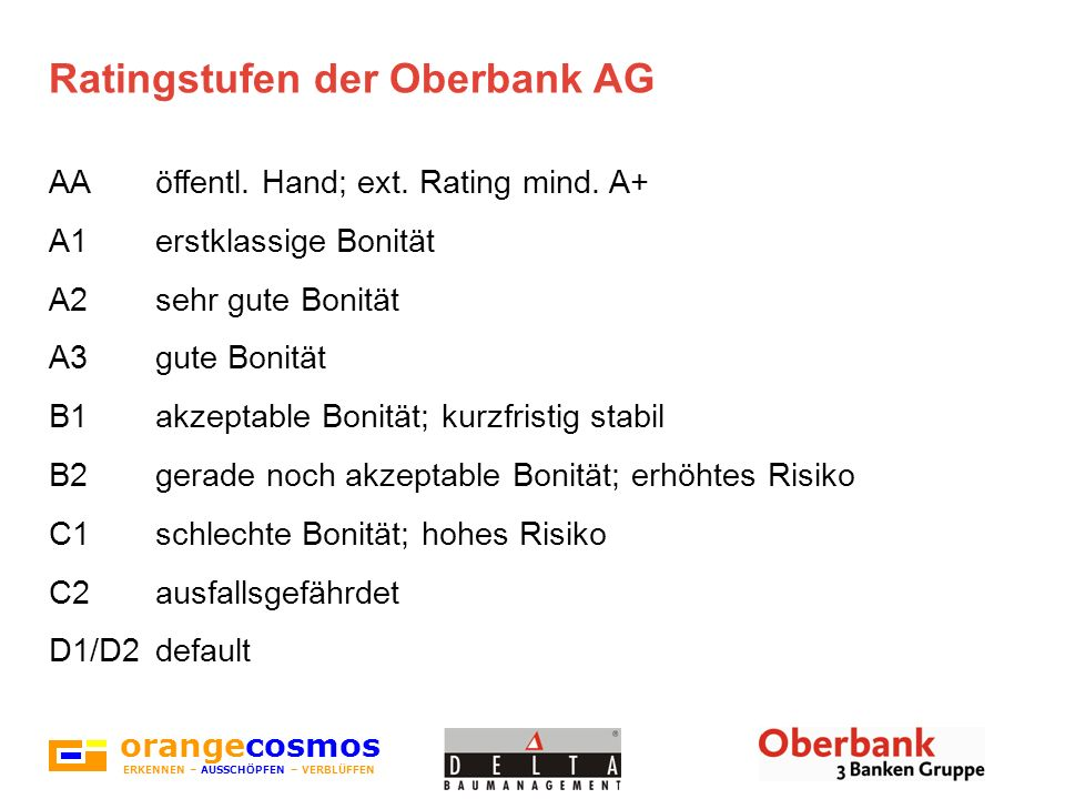 Ratingstufen der Oberbank AG
