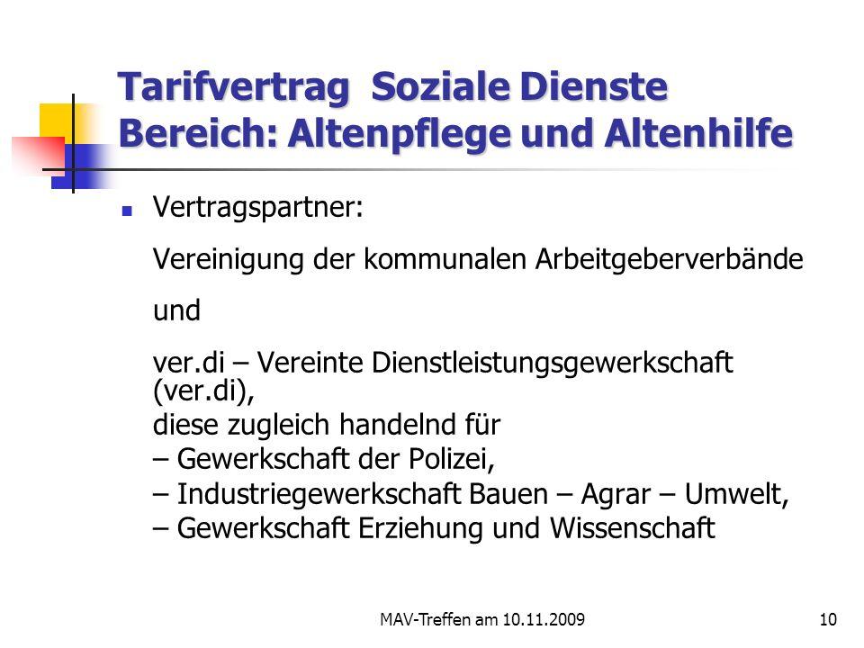 Tarifvertrag Soziale Dienste Bereich: Altenpflege und Altenhilfe