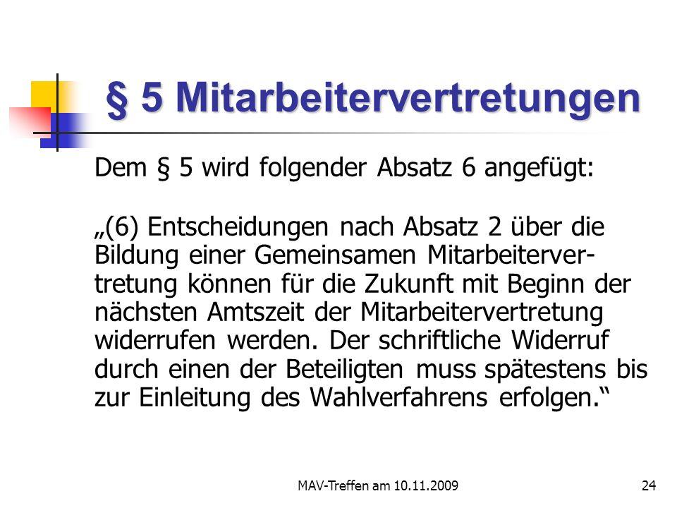 § 5 Mitarbeitervertretungen