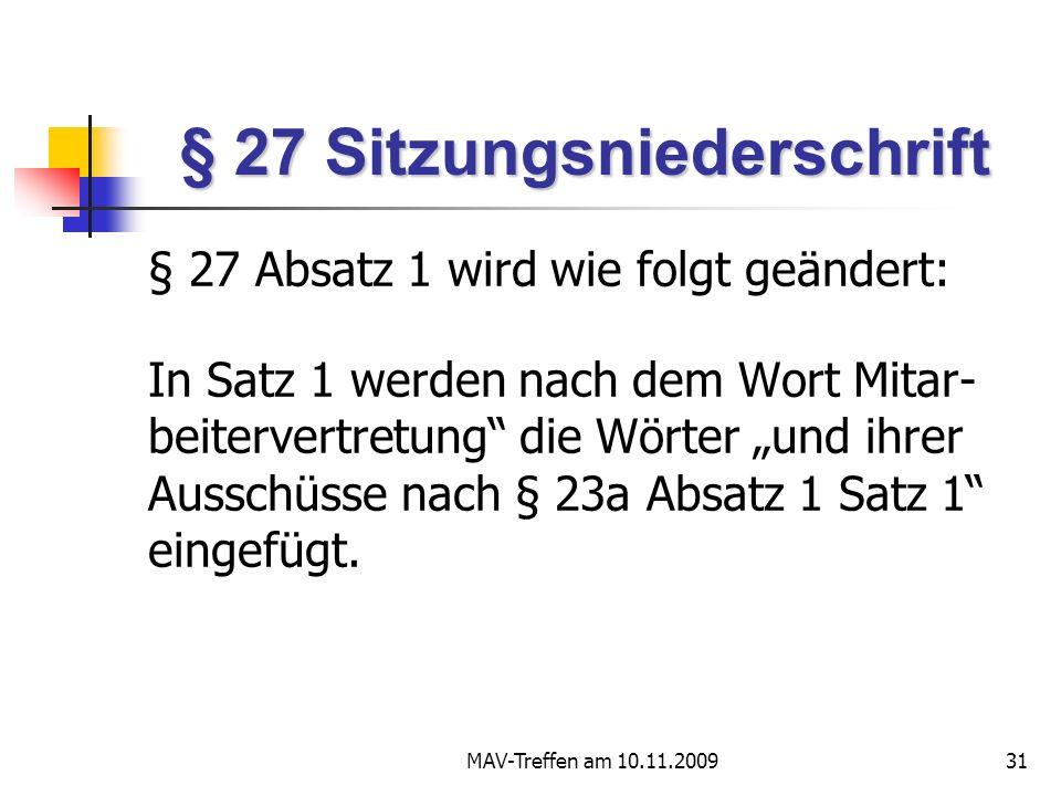 § 27 Sitzungsniederschrift