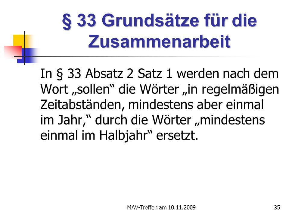 § 33 Grundsätze für die Zusammenarbeit