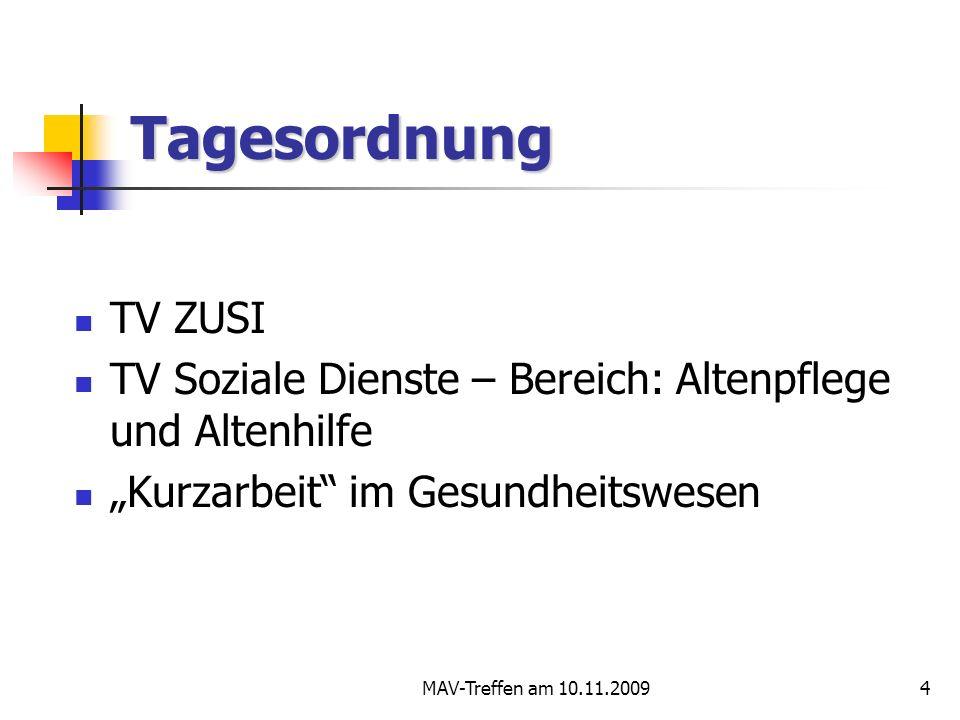 """Tagesordnung TV ZUSI. TV Soziale Dienste – Bereich: Altenpflege und Altenhilfe. """"Kurzarbeit im Gesundheitswesen."""