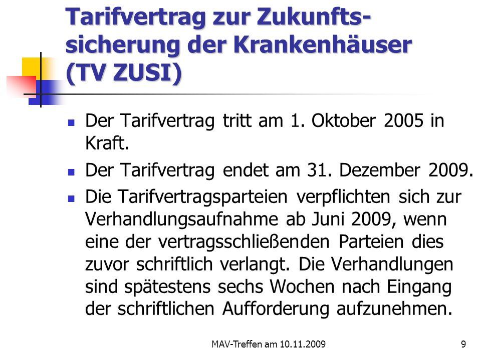 Tarifvertrag zur Zukunfts-sicherung der Krankenhäuser (TV ZUSI)