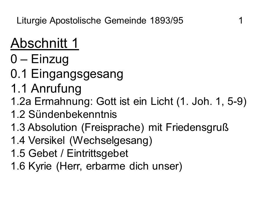 Liturgie Apostolische Gemeinde 1893/95 1