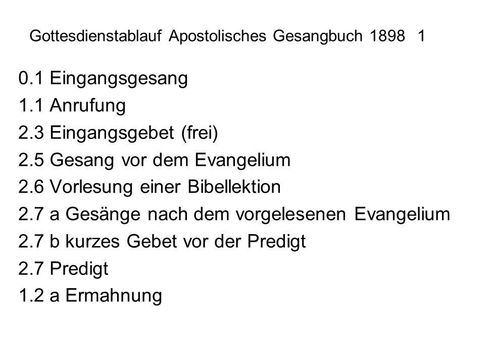 Gottesdienstablauf Apostolisches Gesangbuch 1898 1