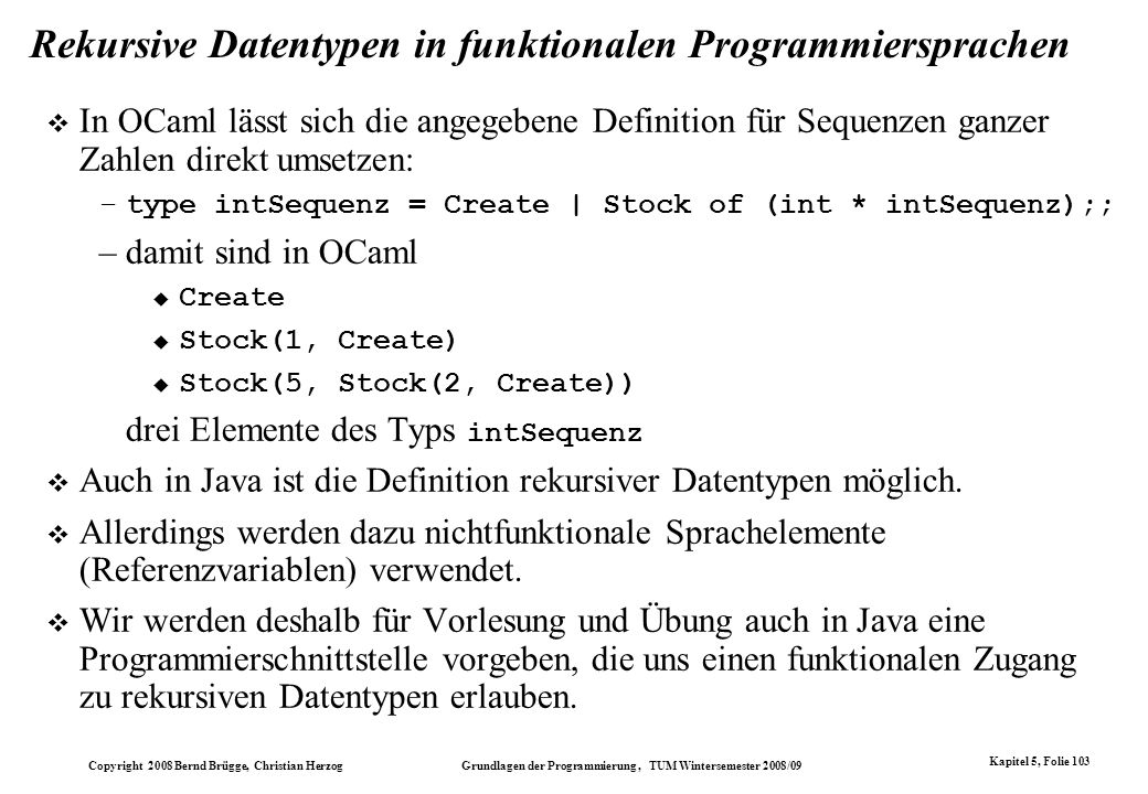 Rekursive Datentypen in funktionalen Programmiersprachen