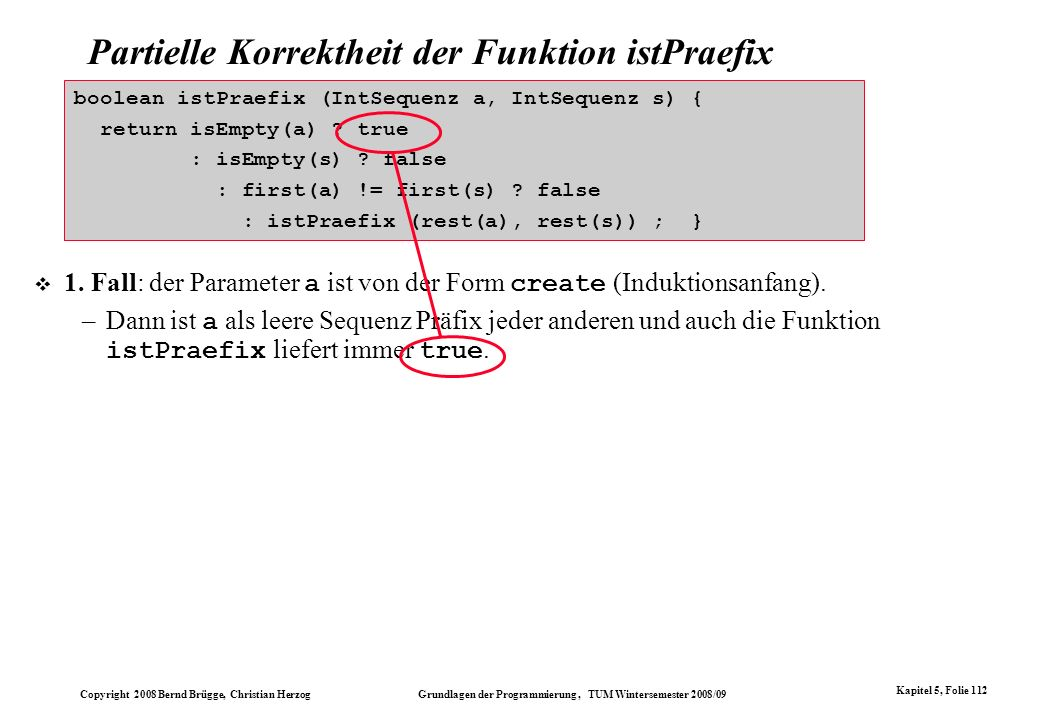 Partielle Korrektheit der Funktion istPraefix