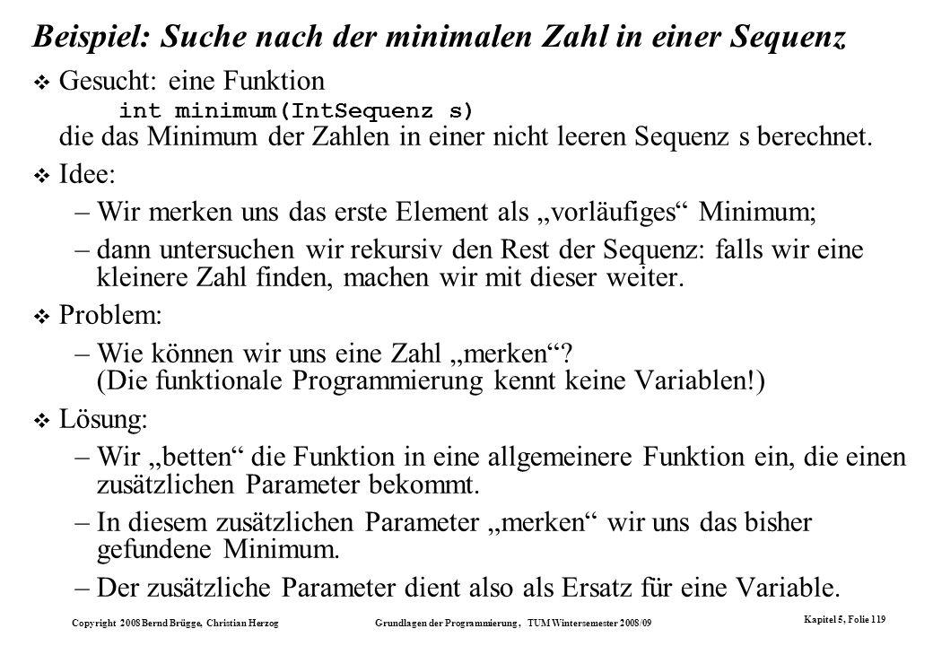 Beispiel: Suche nach der minimalen Zahl in einer Sequenz