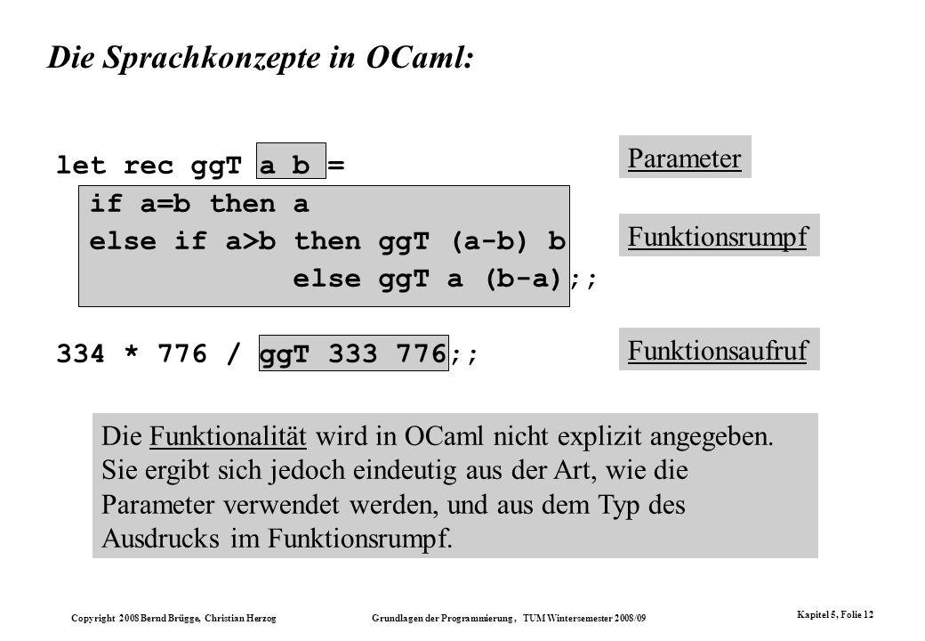 Die Sprachkonzepte in OCaml: