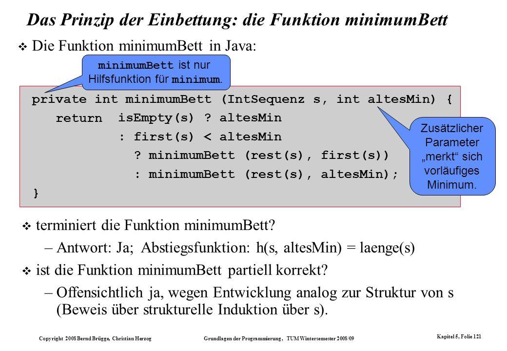 Das Prinzip der Einbettung: die Funktion minimumBett