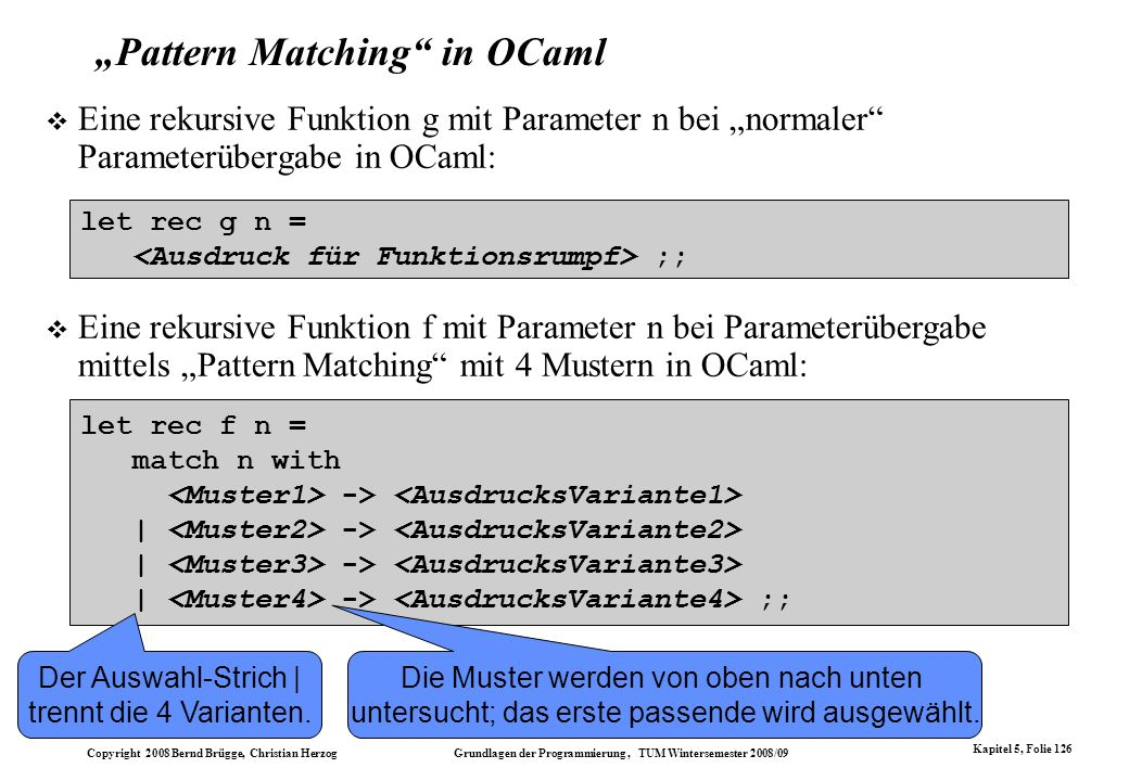 """Pattern Matching in OCaml"