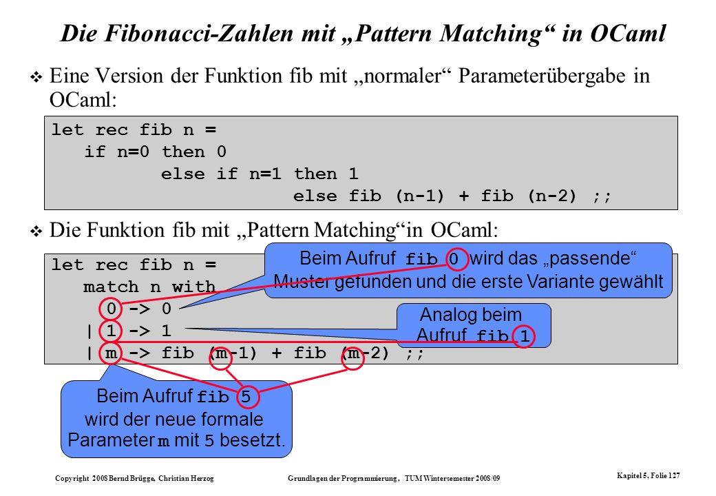 """Die Fibonacci-Zahlen mit """"Pattern Matching in OCaml"""
