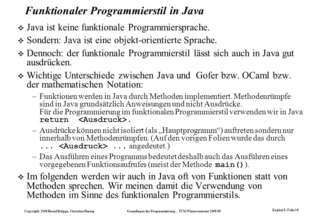 Funktionaler Programmierstil in Java