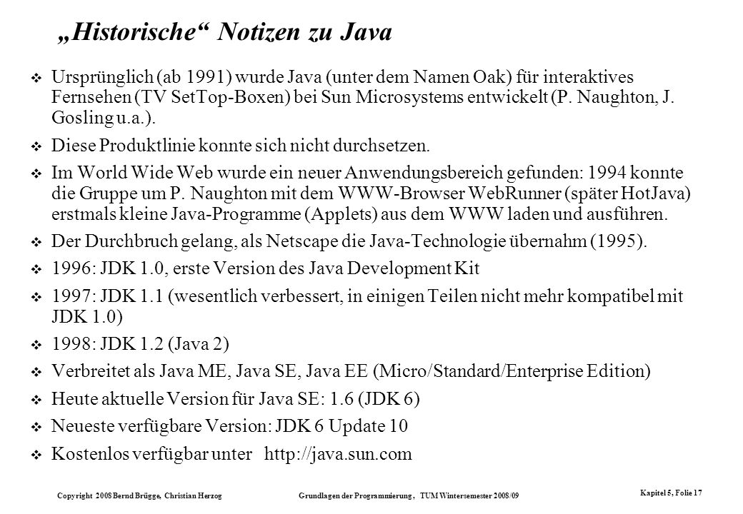"""Historische Notizen zu Java"