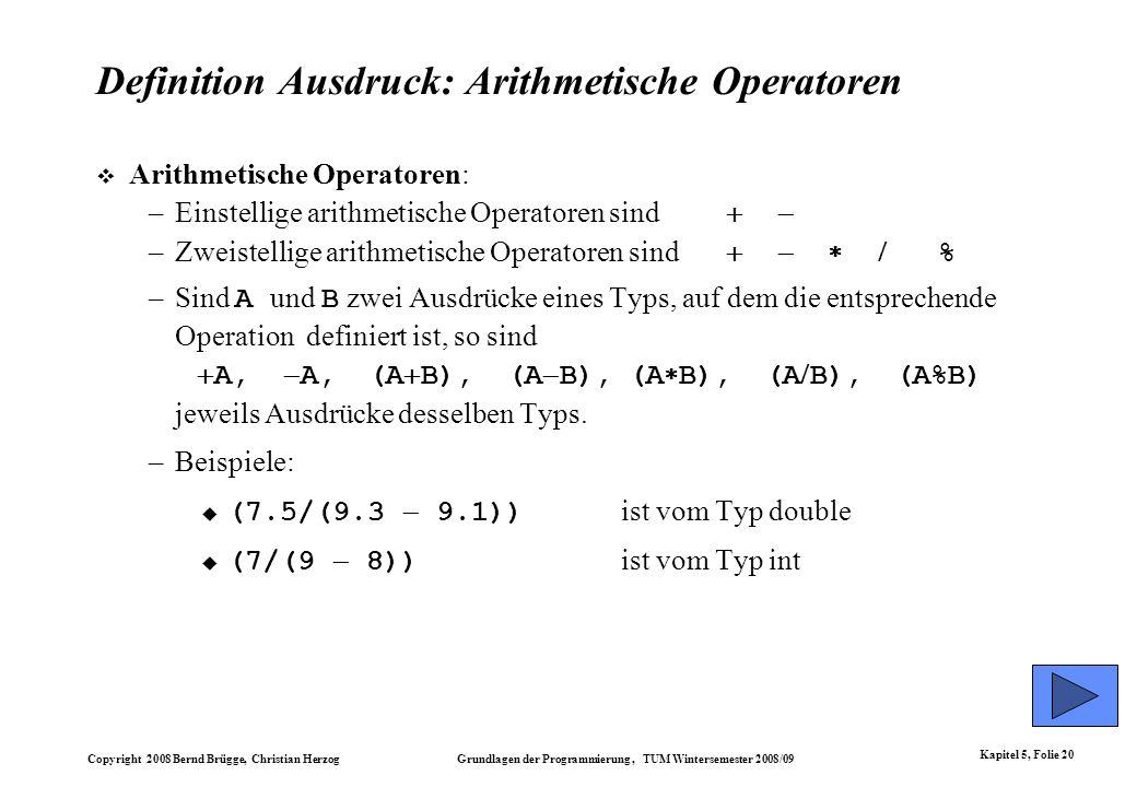 Definition Ausdruck: Arithmetische Operatoren
