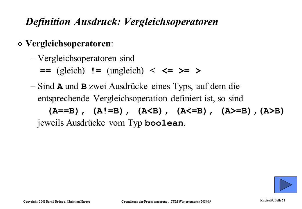 Definition Ausdruck: Vergleichsoperatoren