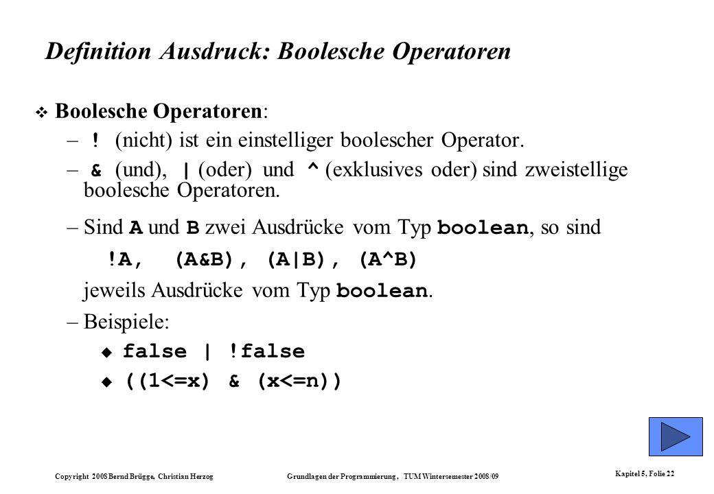 Definition Ausdruck: Boolesche Operatoren