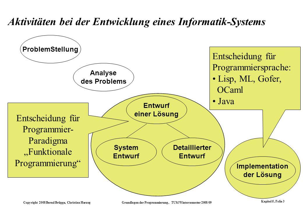 Aktivitäten bei der Entwicklung eines Informatik-Systems