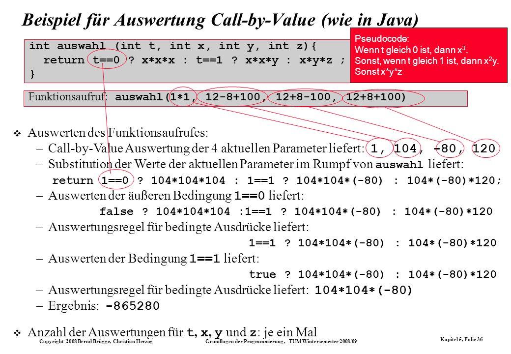 Beispiel für Auswertung Call-by-Value (wie in Java)