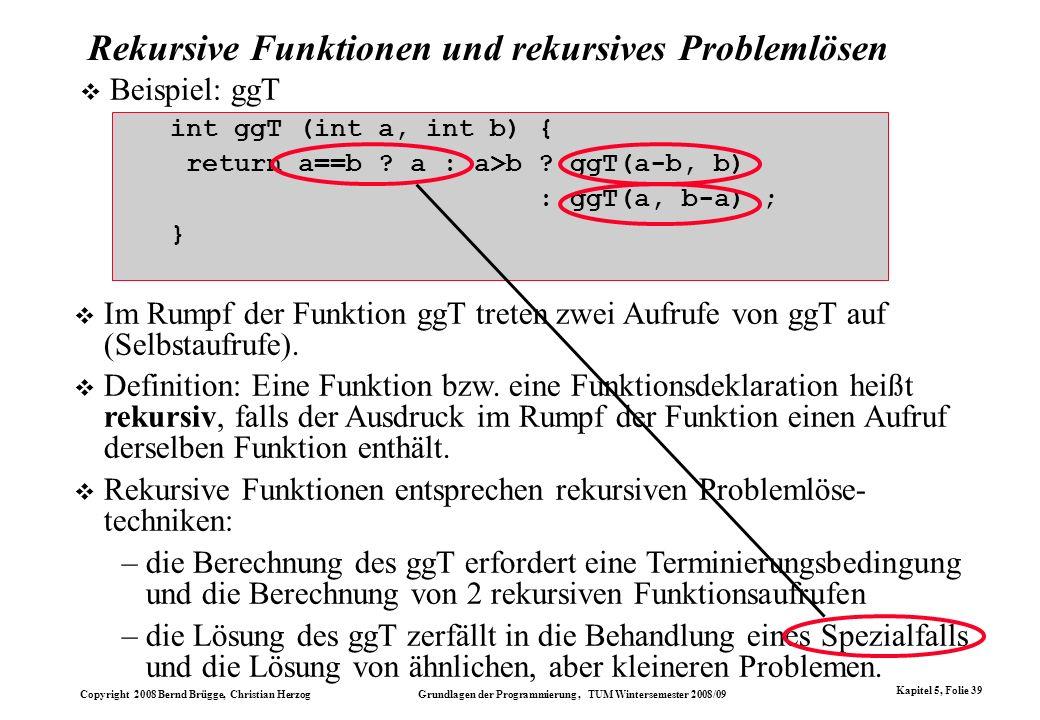 Rekursive Funktionen und rekursives Problemlösen