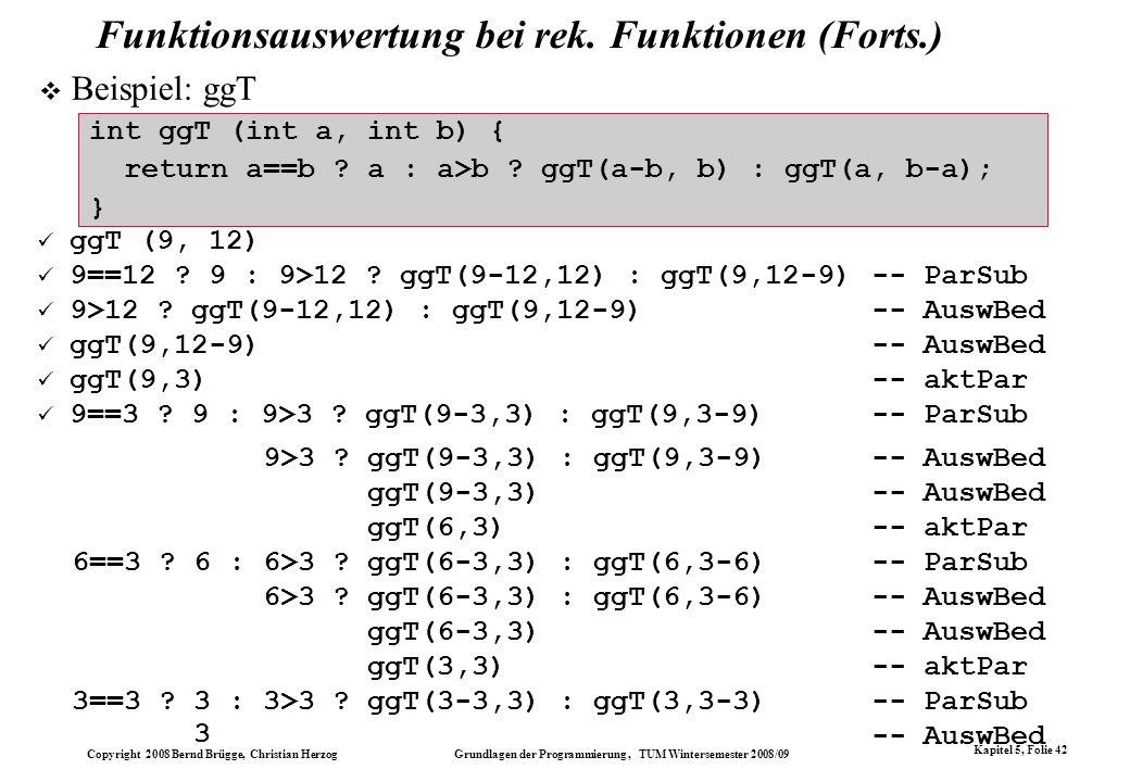 Funktionsauswertung bei rek. Funktionen (Forts.)