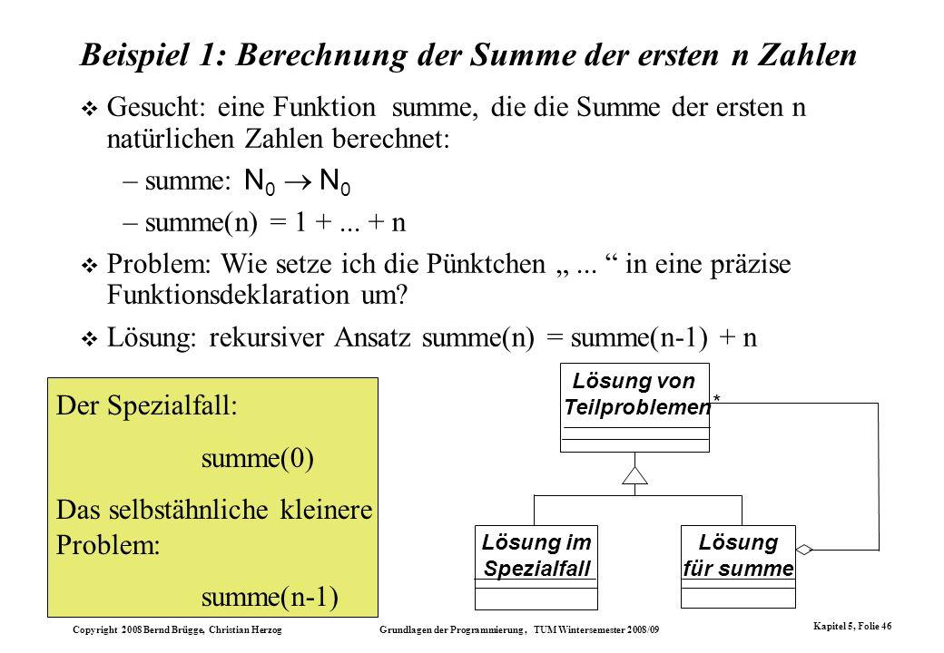 Beispiel 1: Berechnung der Summe der ersten n Zahlen