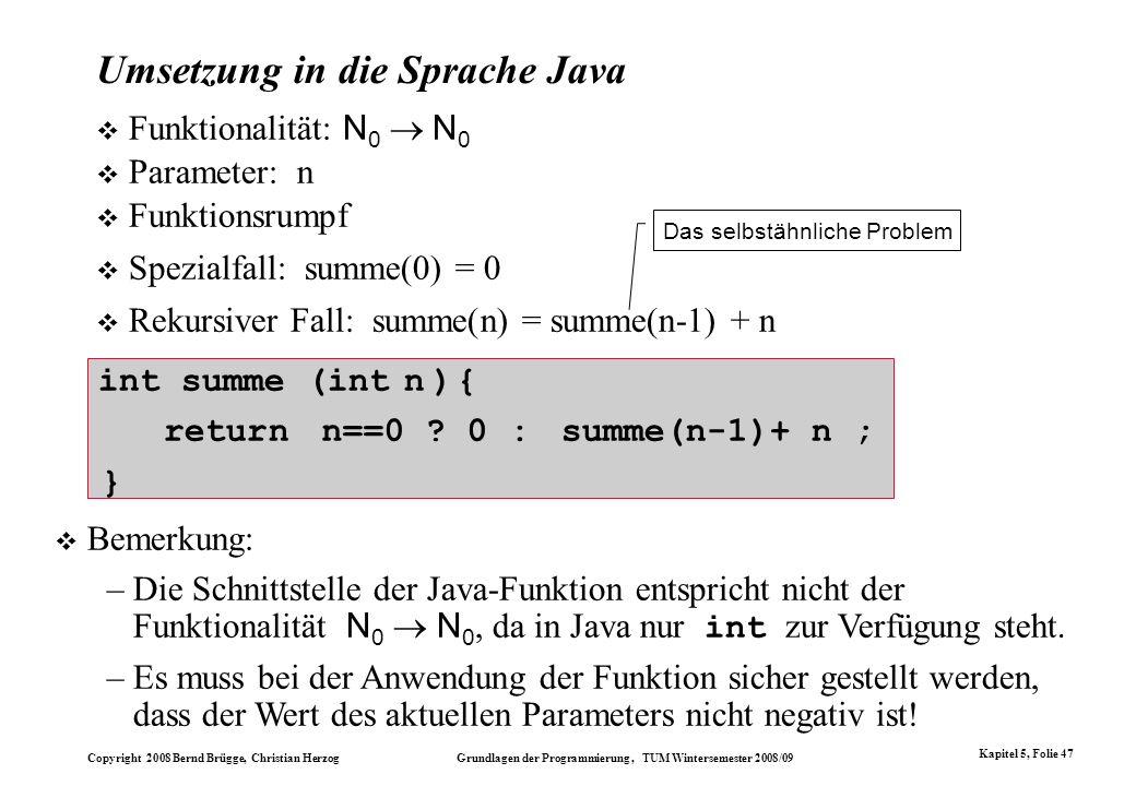 Umsetzung in die Sprache Java