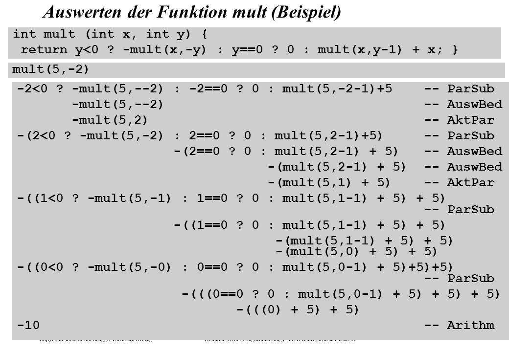 Auswerten der Funktion mult (Beispiel)