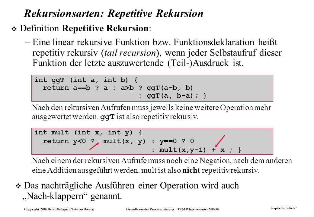 Rekursionsarten: Repetitive Rekursion