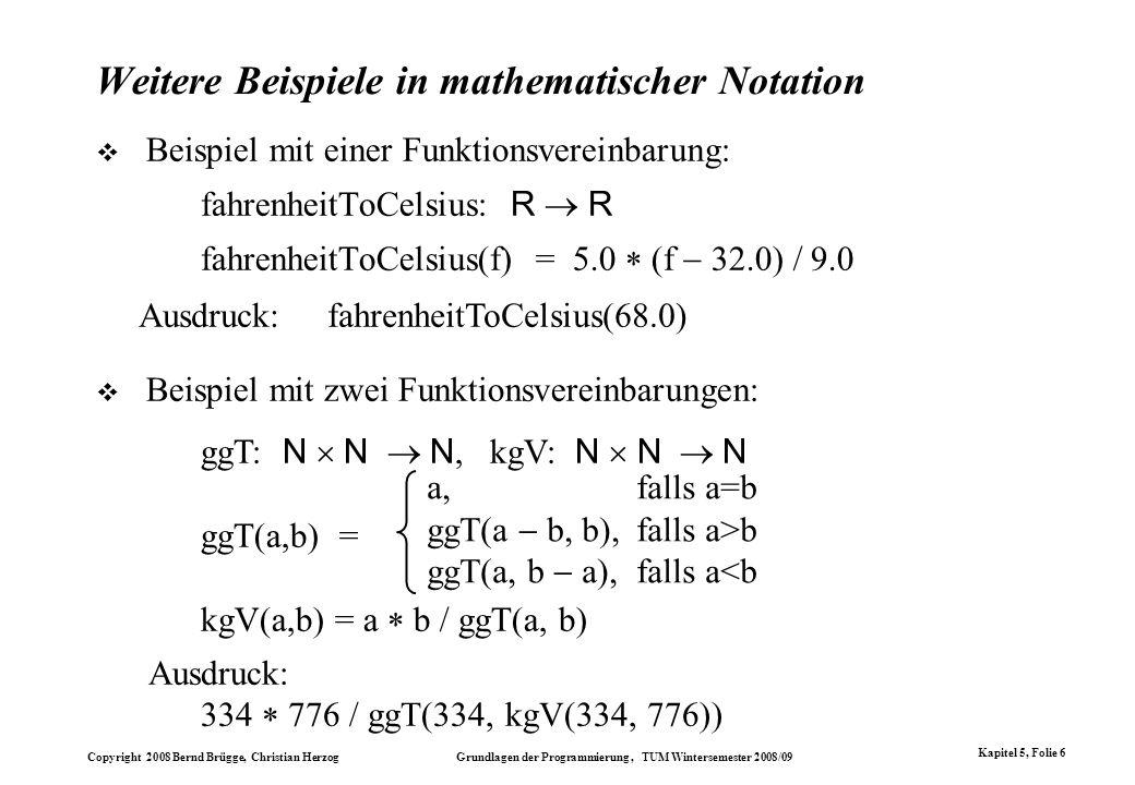 Weitere Beispiele in mathematischer Notation