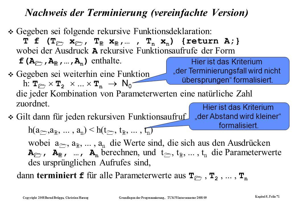 Nachweis der Terminierung (vereinfachte Version)