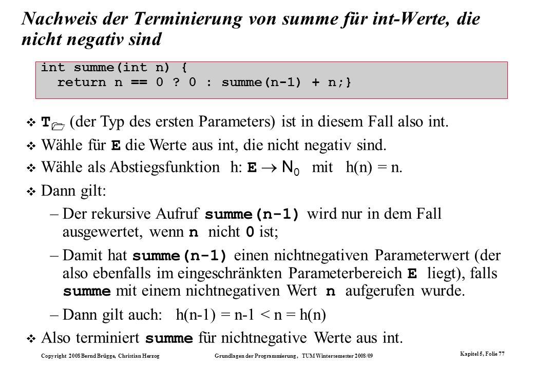 Nachweis der Terminierung von summe für int-Werte, die nicht negativ sind