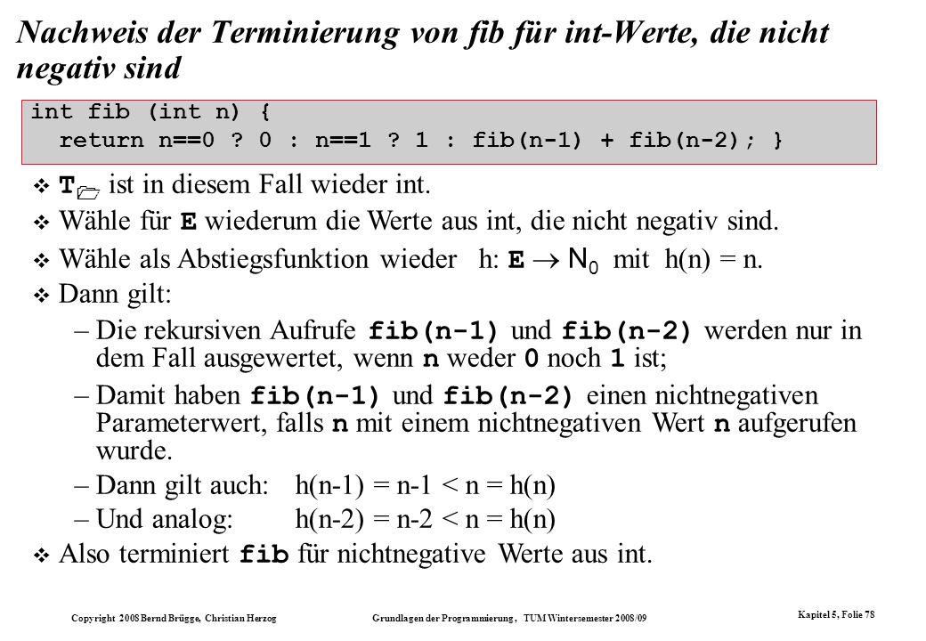 Nachweis der Terminierung von fib für int-Werte, die nicht negativ sind